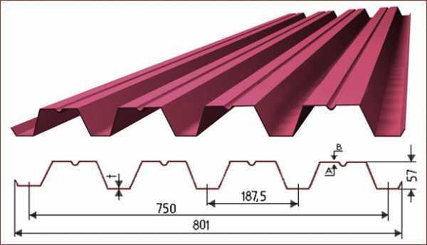 Профилированный лист для крыши с полимерным покрытием Н57